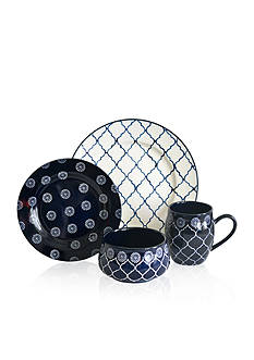 Baum Brothers Moroccan Navy 16-Piece Dinnerware Set