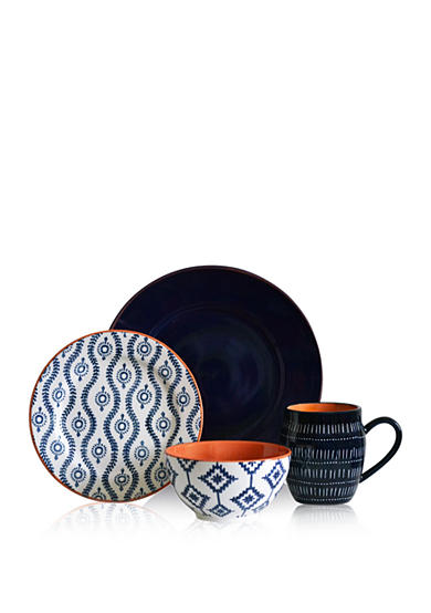 Baum Bros Imports In Tangiers Blue 16-Piece Dinnerware Set