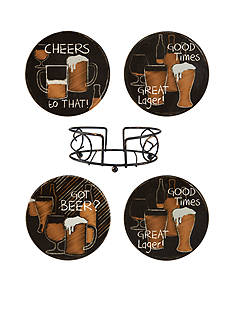 Elements Beer Coasters with Metal Stand