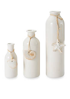 Elements 3-Piece Shell Ceramic Bottle Vase Set