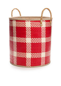 Elements Palm Leaf Red Woven Oval Baskets