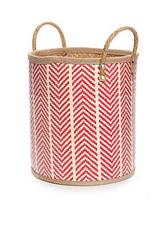 Elements Small Palm Leaf Red Woven Oval Basket