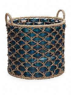 Elements 17-in. Water Hyacinth Blue Basket
