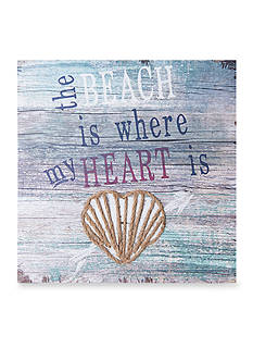 Elements 16-in. 'The Beach is Where My Heart Is' Wood Wall Plaque