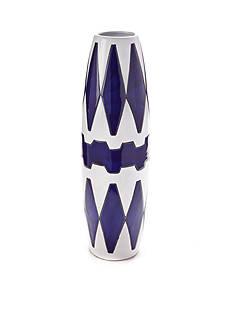 Bombay 19-in. Blue and White Diamond Ceramic Vase