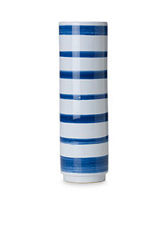 Bombay 15-in. Blue and White Stripe Ceramic Vase