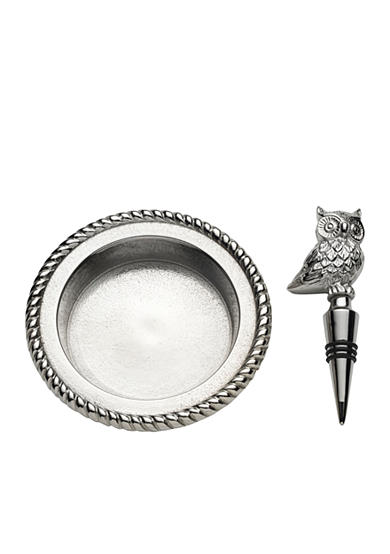 Bombay 2-Piece Owl Wine Stopper and Coaster Set