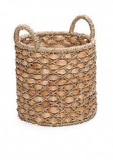 Elements 10-in. Water Hyacinth Beige Oval Basket