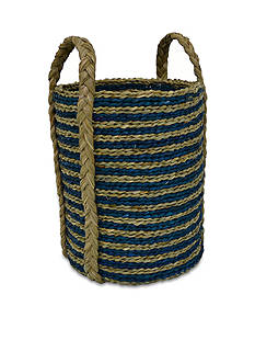 Elements 14-in. Teal Stripe Seagrass Basket