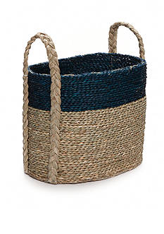 Elements 16-in. Navy Natural Seagrass Basket