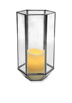 Elements 10-in. Silver Facet Hex Glass Lantern