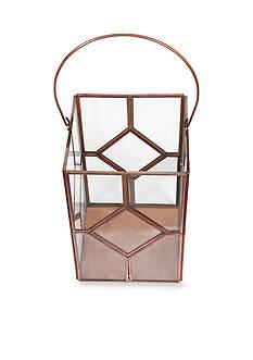 Elements 9-in. Copper Square Glass Lantern