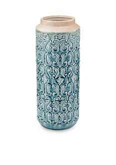Bombay 17.5-in. Aqua Swirls Ceramic Vase
