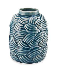 Elements 8-in. Blue Wave Texture Shoulder Ceramic Vase