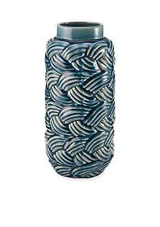 Elements 13-in. Blue Wave Texture Shoulder Ceramic Vase