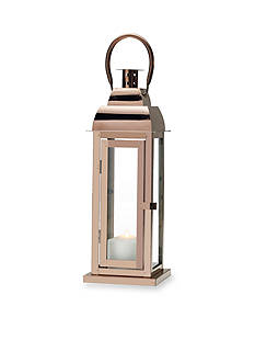 Elements 16-in. Shiny Copper Metal Glass Lantern