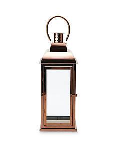 Elements 21-in. Shiny Copper Metal Glass Lantern