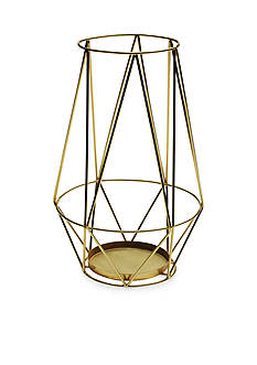 Elements 12-in. Gold Metal Diamond Cut Lantern
