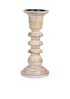 Elements 10-in. Natural Wood Pillar Holder
