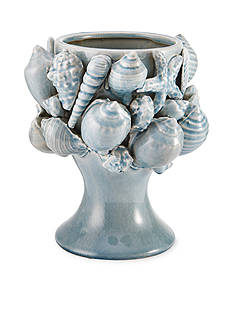 Elements 10-in. Aqua Seashell Ceramic Vase