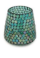 Elements 6-in. Aqua Mosaic Glass Hurricane
