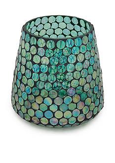 Elements 6-in. Aqua Mosaic Glass Hurricane