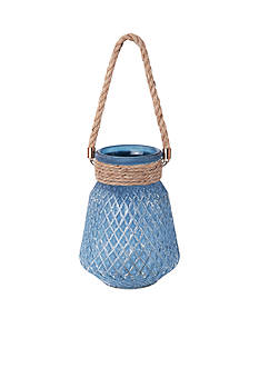 Elements 8-in. Blue Glass Rope Handle Candle Holder