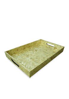 Bombay 18-in. Shiny Sand Shell Wood Tray