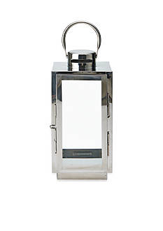 Elements 12-in. Shiny Metal Glass Lantern