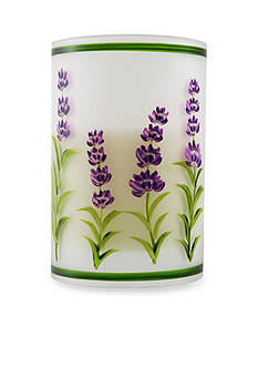 Front Porch 5.75-in. Flameless LED Filled Glass Lavender Flower Hurricane