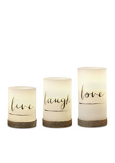 Order™ Home Collection 3-Piece Live Love Laugh Timer Flameless LED Candle Set
