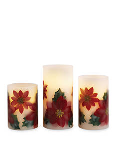 Order™ Home Collection 3-Piece Poinsettia Flameless LED Candle Set