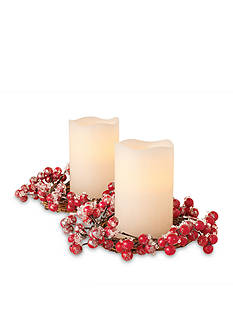 Order™ Home Collection Holiday Wreath Centerpiece Wreath with 2 Candles - Frozen Cranberry