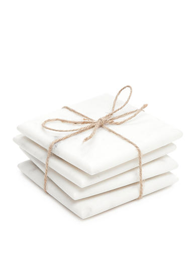 Artisan Set of 4 White Marble Coasters