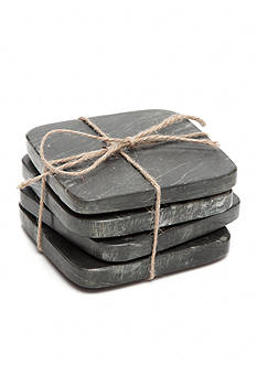 Biltmore Artisan Set of 4 Black Marble Coasters