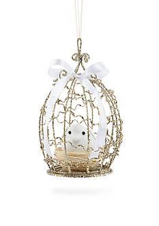 Biltmore Treetops Glisten Champagne Glitter Birdcage Ornament