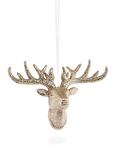 Biltmore Treetops Glisten Champagne Glitter Deer Head Ornament