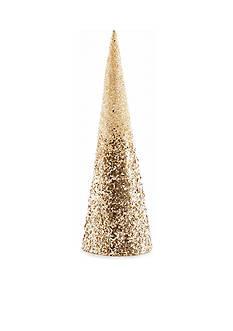 Biltmore Treetops Glisten White and Gold Glitter Cone Tree Decor