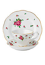 New Country Rose Vintage White 3-Piece Teacup, Saucer, & Plate