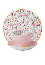 New Country Rose Vintage Confetti 3-Piece Teacup, Saucer & Plate