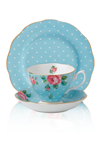 Royal Albert New Country Rose Vintage Polka Blue Tea Service