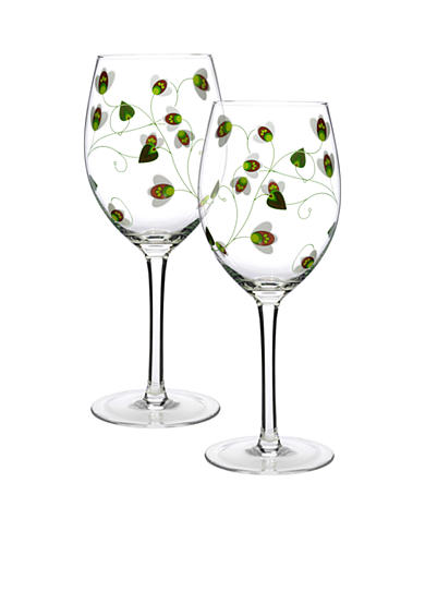 Luigi Bormioli Set of 2 Green All Purpose Wine Glasses
