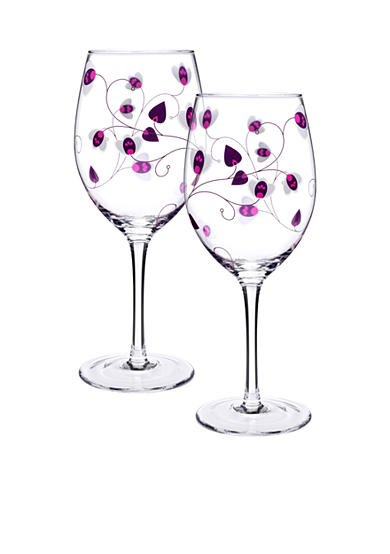 Luigi Bormioli Set of 2 Purple All Purpose Glasses