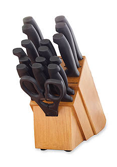 Cooks Tools™ 18-piece Never Needs Sharpening Handle in Natural Finish Block