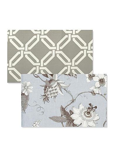 Taupe Greek Key / Light Blue Floral Placemat