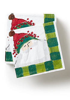 VIETRI Green Old St. Nick Cocktail Napkin