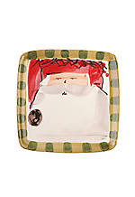 Old St. Nick Red Hat Santa  Square Salad Plate 8.25-in.