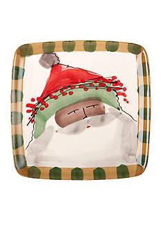 VIETRI Old St. Nick Green Brim Santa Hat Salad Plate