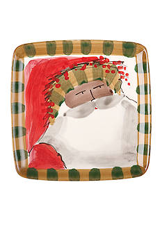 VIETRI Old St. Nick Striped Red Hat Santa Square Plate