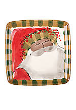Multicultural Old St. Nick Striped Hat Santa Square Salad Plate 8.25-in. Dia.